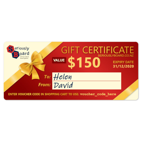 Buy Seriously Board Gift Certificates the game accessory online in NZ